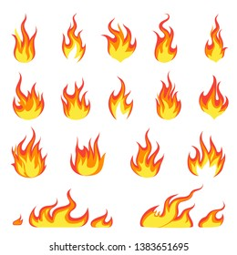 Cartoon fire flame. Fires image, hot flaming ignition, flammable blaze heat explosion danger flames energy vector concept