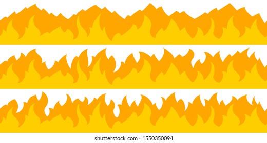 Cartoon fire flame frame borders. Seamless orange fire border
