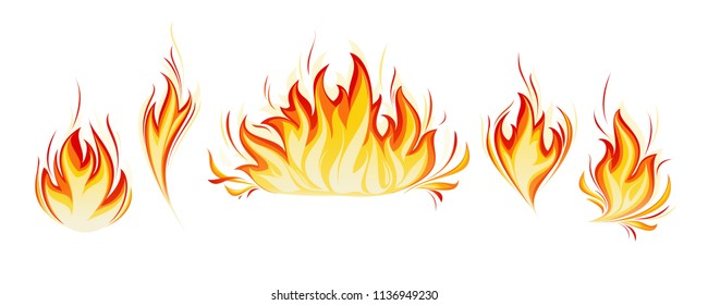 Cartoon fire flames vector set. Ignition light effect, flaming symbols. Hot flame energy, effect fire animation illustration. Realistic flames tongues. Vector illustration.