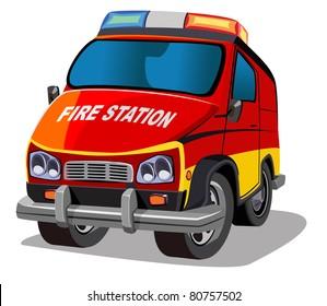 cartoon fire jeep