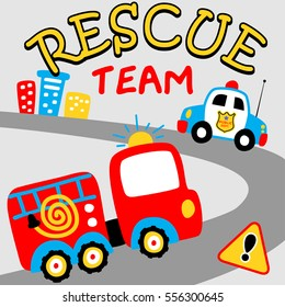 cartoon of fire truck and police car to the rescue