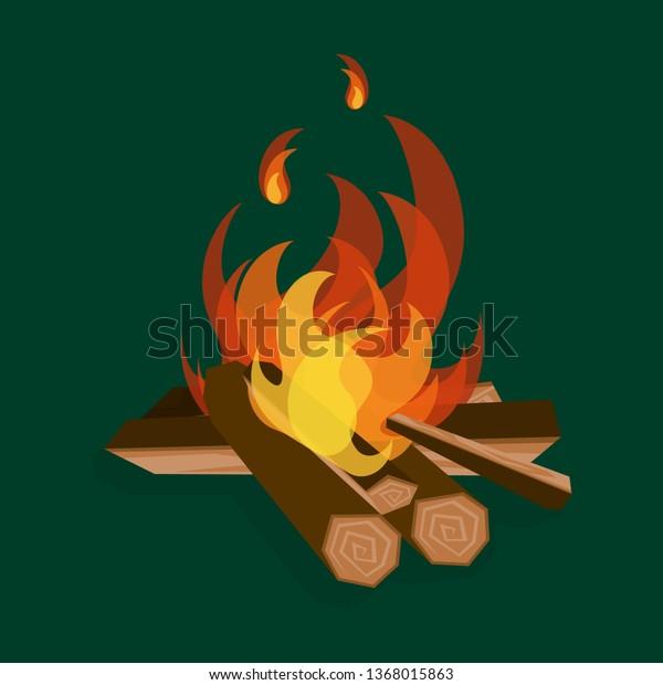 Cartoon Fire With Wood