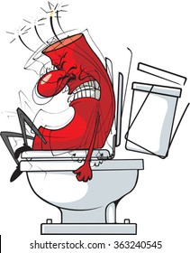 Cartoon of a firecracker on the toilet. Vector File. Fire in the Hole