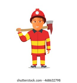 Cartoon Firefighter Character isolated on white Background. Vector illustration