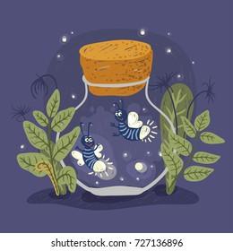 Cartoon firefly in the jar, vector illustration