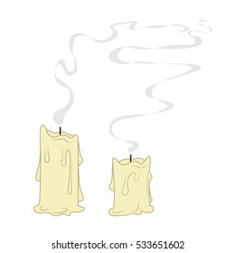 Cartoon fireless melted candle isolated on white. Vector illustration.
