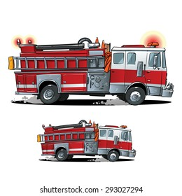 Cartoon Firetruck on a white background