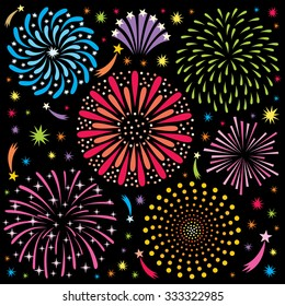 Cartoon fireworks. No transparency and gradients used.