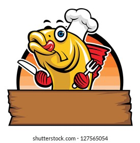 cartoon of fish chef