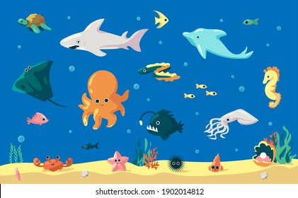 Cartoon fish. Cute underwater animals, marine inhabitants. Funny dolphin and eel, comic squid or starfish. Undersea landscape with sand and algae. Ocean creature clipart. Vector colorful sea dwellers