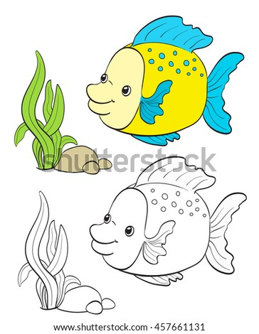 Cartoon Fish Drawing With Coloring Version On White Vector