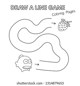 Cartoon fish game for small children - draw a line. Vector coloring book pages for kids