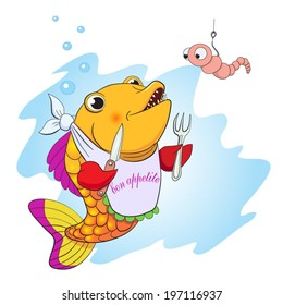 Cartoon fish with knife and fork in the fins preparing to eat the worm.