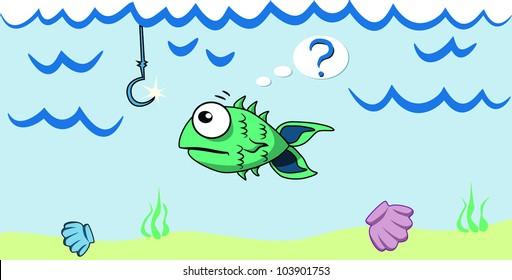 Cartoon fish looking at the bait
