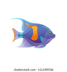 Cartoon fish, sea animal icon, coral reef 3d butterfly fish. Tropical underwater aquatic creature, cartoon cute symbol. Summer travel flat sign. Vector illustration eps10, isolated on white background