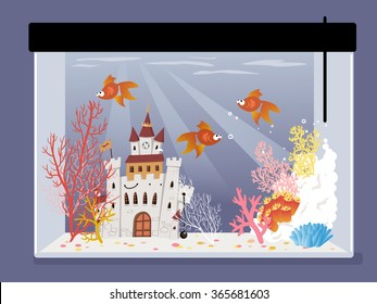 Cartoon fish tank with a castle, corals and goldfish, EPS 8 vector illustration