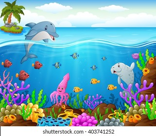 cartoon fish under the sea