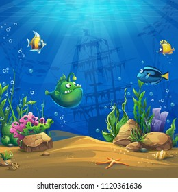 Cartoon fish in underwater world. Marine Life Landscape with different inhabitants. For design websites and mobile phones, printing.