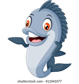 Cartoon fish waving