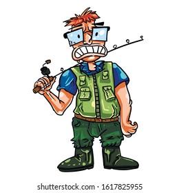 Cartoon fisherman with fishing rod.
