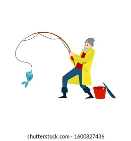 Cartoon fisherman holding a fishing rod pulling a blue fish out of water with surprised face. Old man in yellow coat happy to catch something - isolated flat vector illustration