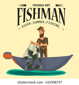 Cartoon fisherman standing in hat and pulls net on boat out of water, happy fishman holds fish illustration isolated icon. Vacation flat fisher catch concept, man active hobby character design