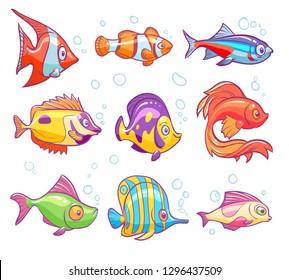 Cartoon fishes. Aquarium sea tropical fish funny underwater animals. Goldfish kids vector isolated illustrations