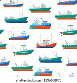Cartoon Fishing Boats Seamless Pattern Background on a White Ship or Vessel Marine Transport Elements Concept Flat Design Style. Vector illustration of Boat