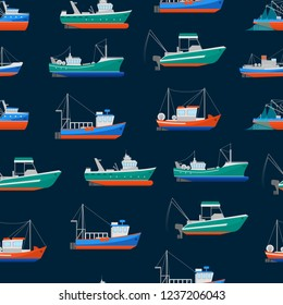 Cartoon Fishing Boats Seamless Pattern Background Ship or Vessel Marine Transport Elements Concept Flat Design Style. Vector illustration of Boat