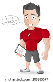 Cartoon Fitness Coach - vector