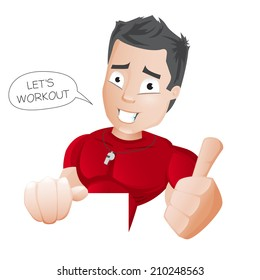Cartoon Fitness Coach - vector - editable