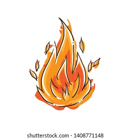 Cartoon flame - isolated fire doodle - sketch - comic style - black and white
