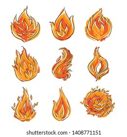 Cartoon flame - isolated fire doodle - sketch - comic style