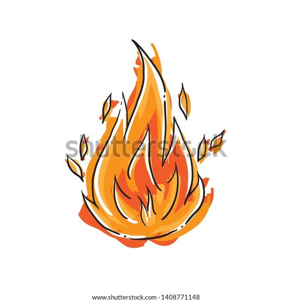 Image Vectorielle De Stock De Flamme De Dessin Animé