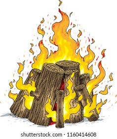 A cartoon of a flaming log campfire with round logs and hot flames.