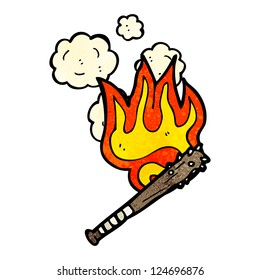 cartoon flaming weapon