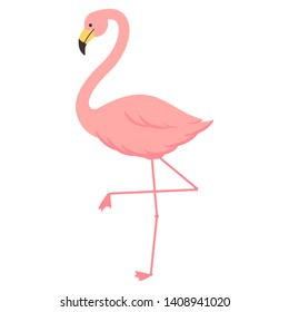 Cartoon flamingo vector illustration isolated on a white background.