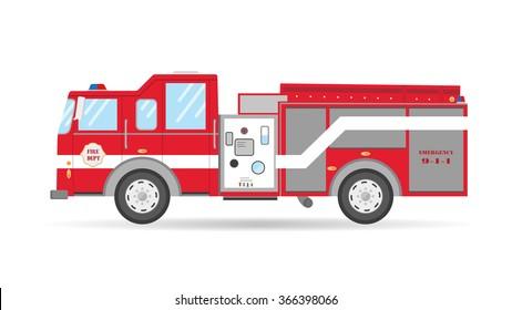 Cartoon flat American Firetruck car vector illustration emergency vehicle