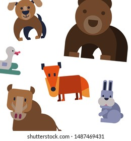 Cartoon flat animals vector pattern with cute bear, dog, fox,duck and rabbit. Pattern for fabric, baby clothes, cartoon animals background, textile, wrapping paper.