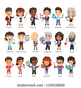 Cartoon flat characters of teachers in various poses. Isolated on white background. Clipping paths included.