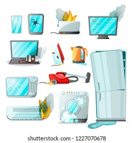 Cartoon flat consumer electronics home appliances with different damages,vector set.Broken household goods-laptop,mobile phone,tablet,monitor,microwave,refrigerator,washing machine,vacuum cleaner etc
