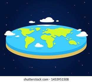 Cartoon flat earth illustration, simple style vector clip art.