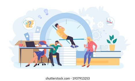 Cartoon flat employee characters at work stress scene.Burnout tired employees sleep,thinks about works failure at office workplace-productivity,deadline,time management web site banner concept