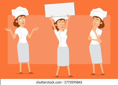 Cartoon flat funny chef cook woman character in white uniform and baker hat. Girl who is questioning, holding blank sign and thinking Isolated on orange background. Ready for animation. Vector set.