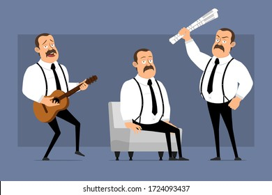 Cartoon flat funny cute fat office worker with mustache and black tie. Ready for animation. Man playing guitar and resting on sofa. Isolated on blue background. Vector icon set.