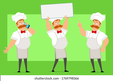 Cartoon flat funny fat chef cook man character in white uniform and baker hat. Boy holding blank sign, thinking and talking on phone. Ready for animation. Isolated on green background. Vector set.