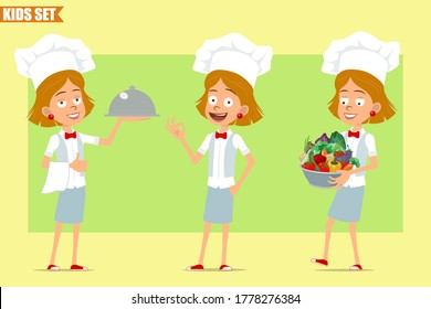 Cartoon flat funny little chef cook girl character in white uniform and baker hat. Kid carrying metal pot with fresh vegetables and tray. Ready for animation. Isolated on olive background. Vector set.