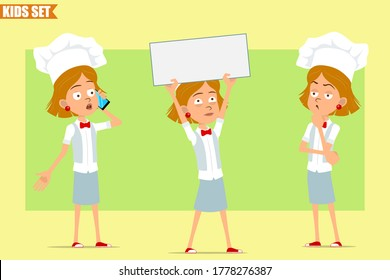 Cartoon flat funny little chef cook girl character in white uniform and baker hat. Kid holding blank sign, thinking and talking on phone. Ready for animation. Isolated on olive background. Vector set.