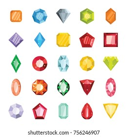 Cartoon flat gems jewels diamond brilliant vector set. Gemstone and crystal, precious glass elements isolated on white illustration