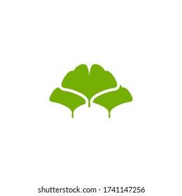 Cartoon flat green ginkgo biloba leaves isolated on white. Nature eco icon. Vector illustration. Leaflet organic icon. Cosmetics and medical plant icon